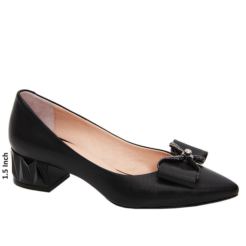 Black Phoenix Bow Studded Tuscany Leather Mid Heel Pumps