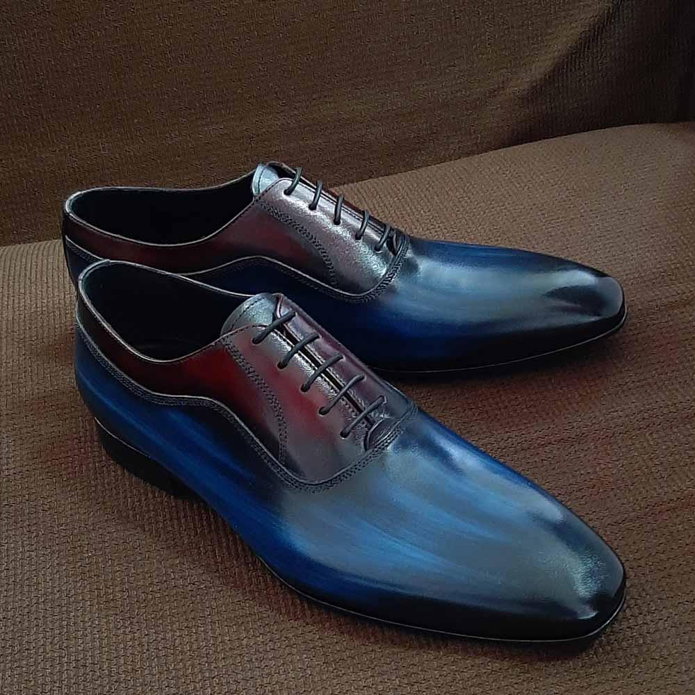 Blue Mix Cristofano Italian Leather Oxford Shoe