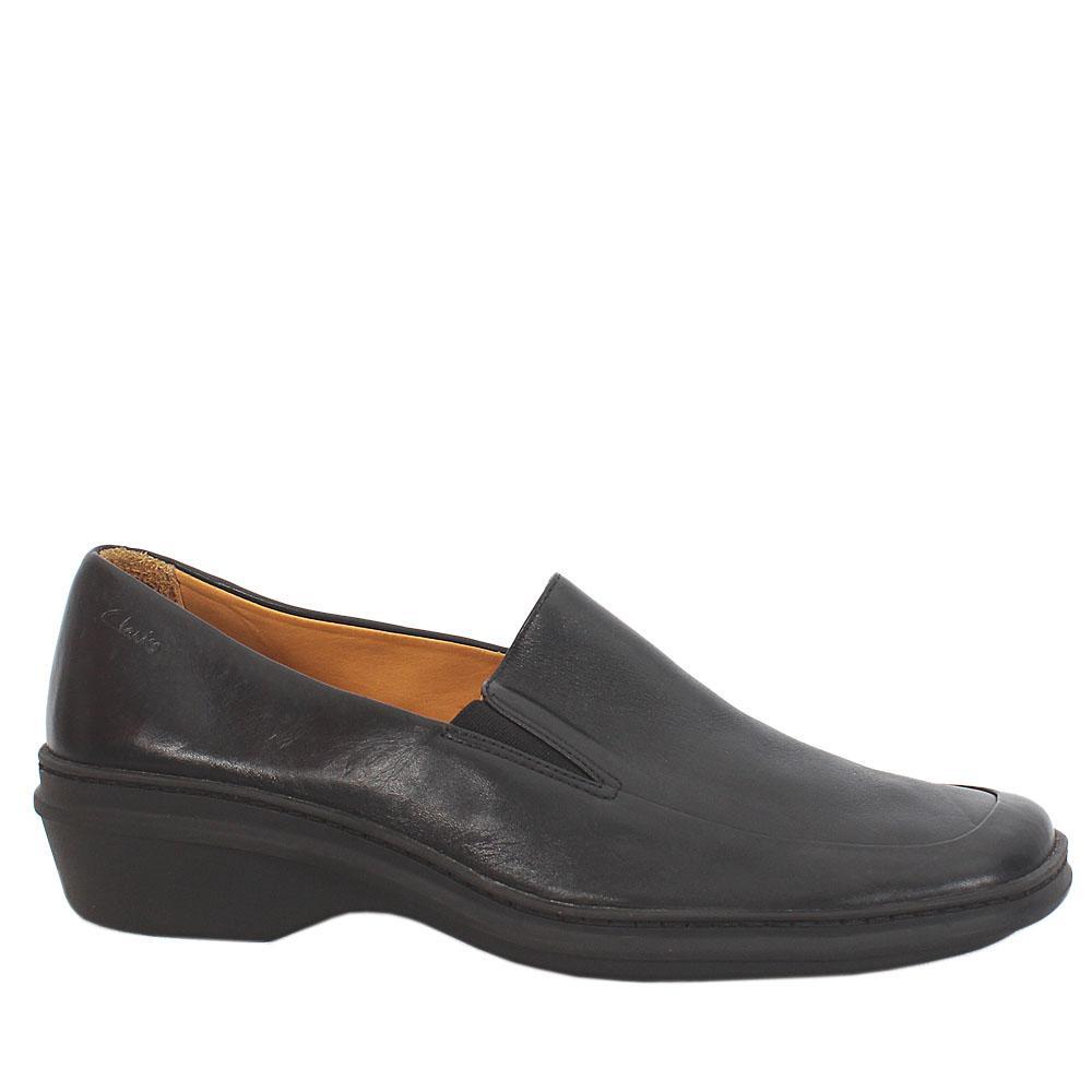 Clarks Springers Black Leather Ladies Shoes Sz 41