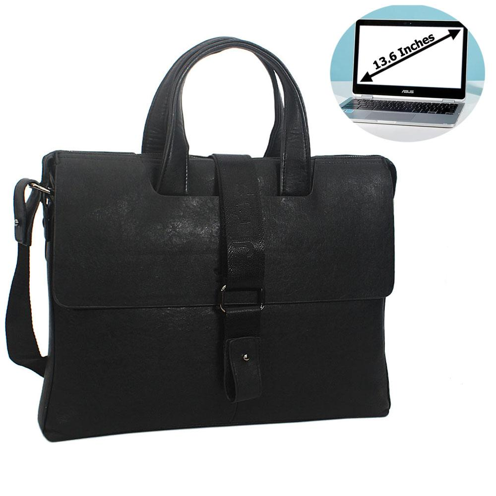 Black Leather Double Flap Briefcase