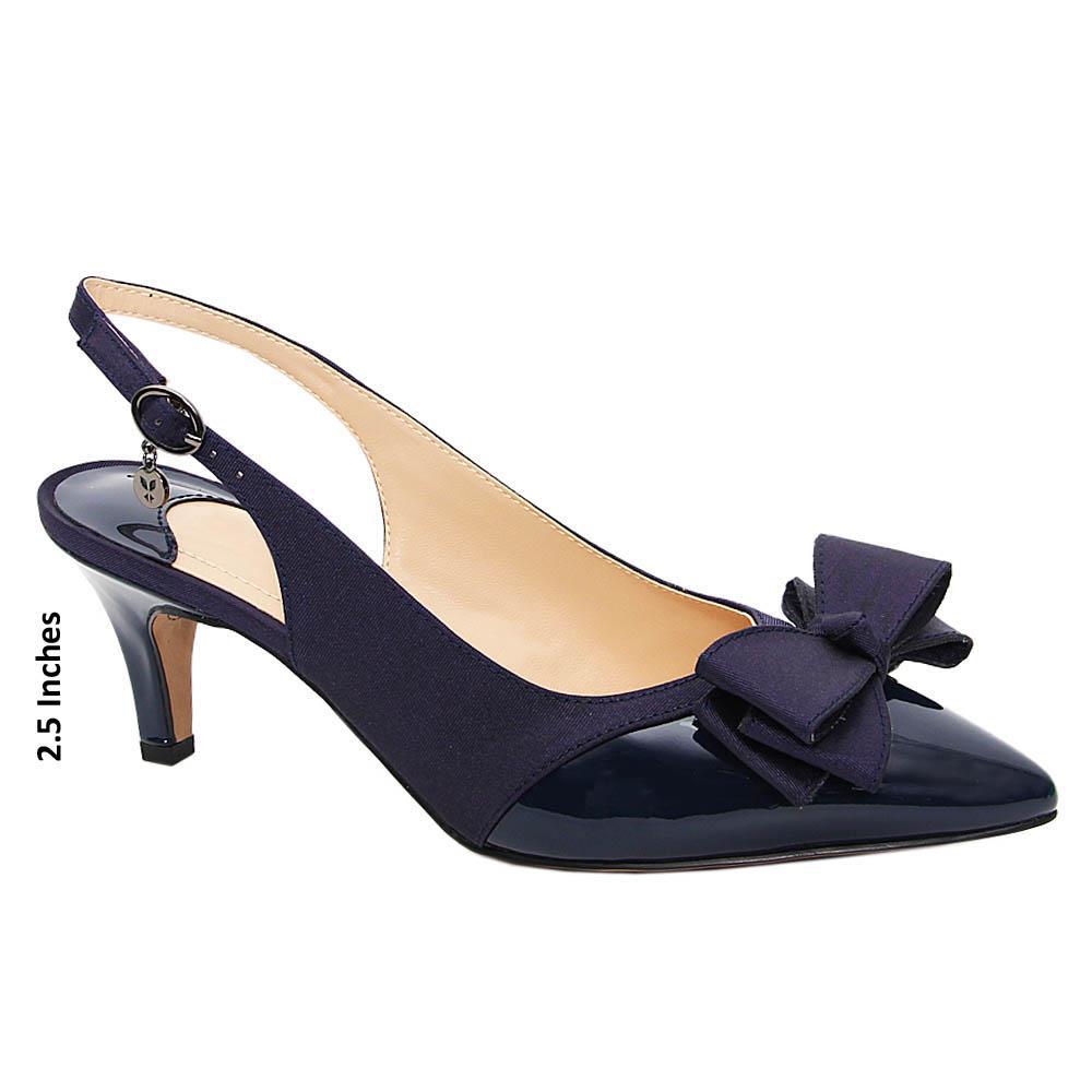 Navy Jeda Fabric Leather Mid Heel Slingback Pumps