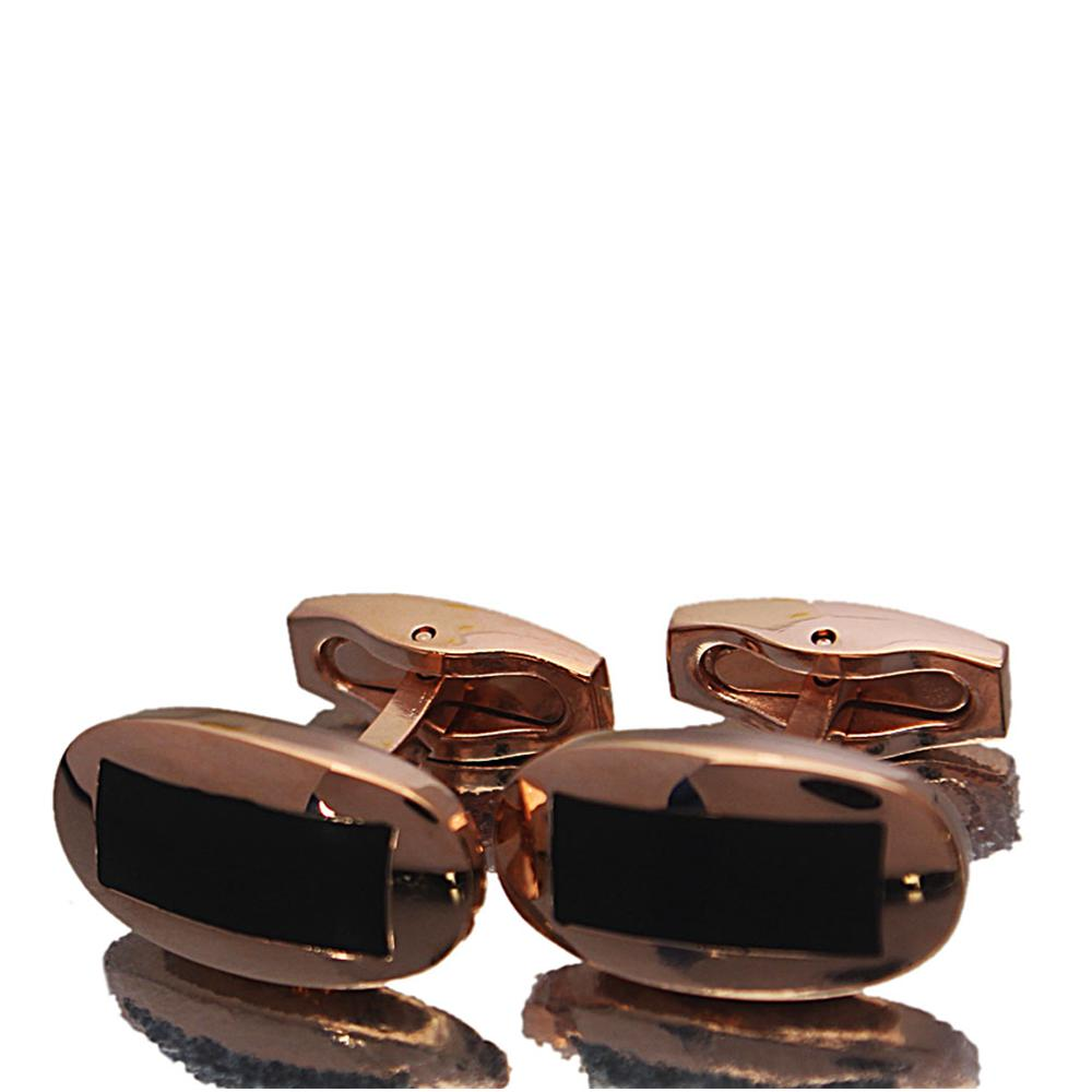 Rose Gold Black Etched Stainless Steel Cufflinks