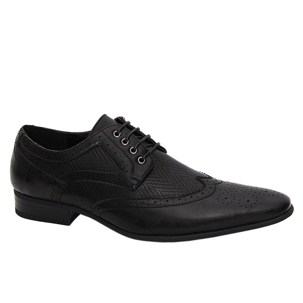 Black Scott Leather Men Derby Shoes
