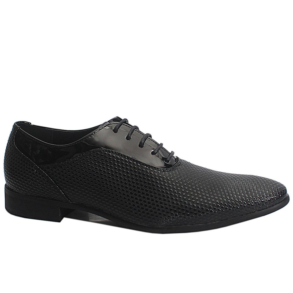 Black Arthur Embossed Patent Leather Men Oxford Shoes