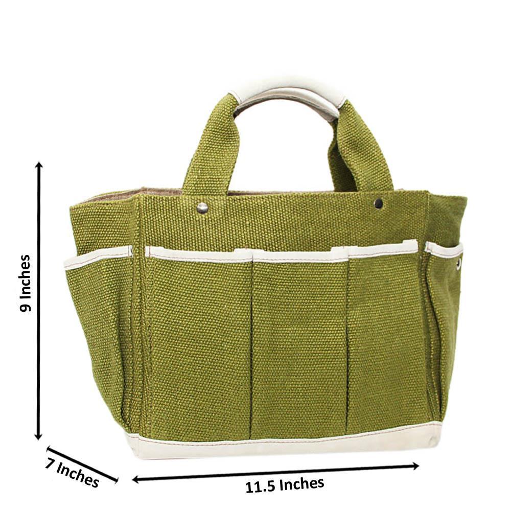 Green Beckly Woven Fabric Medium Tote Handbag