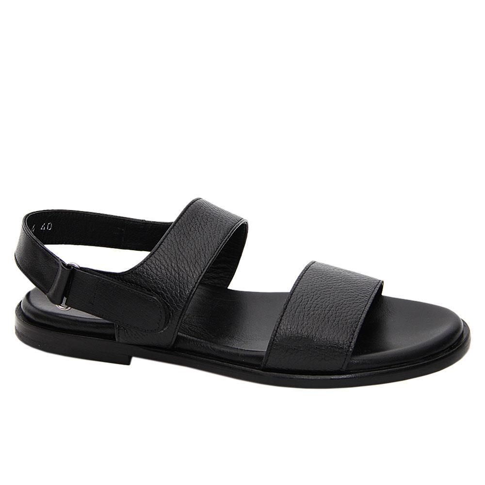 Black Enzo Piero Italian Leather Sandals