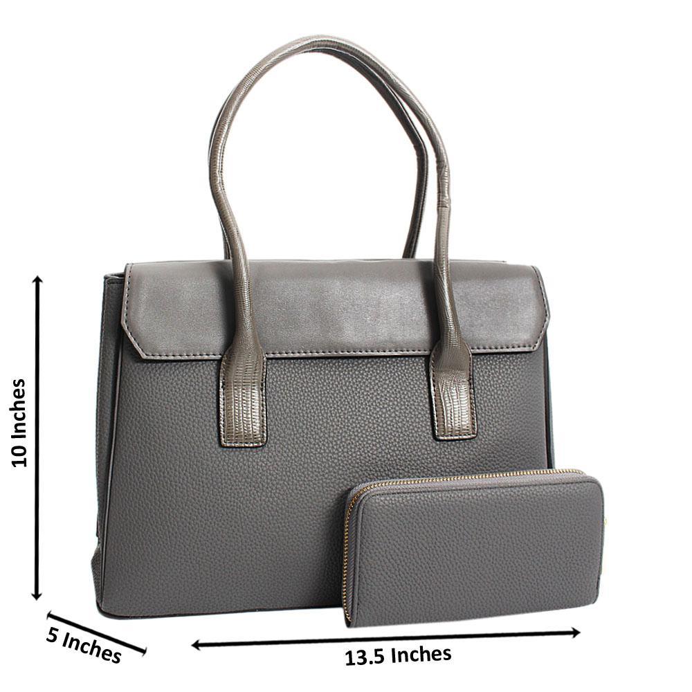 Gray Aurora Leather Medium Tote Handbag