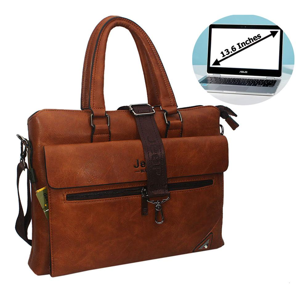 Brown Elias Leather Single Flap Briefcase