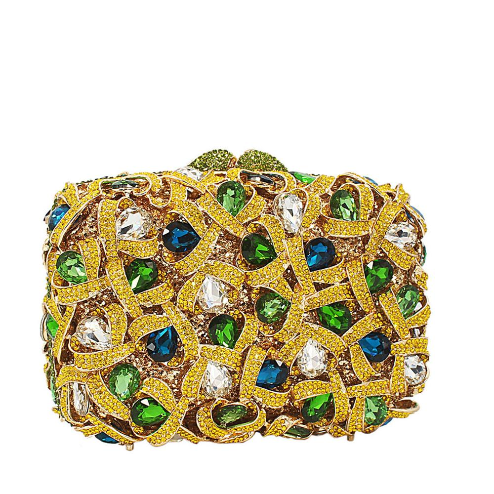 Yellow Multicolor Diamante Crystals Clutch Purse