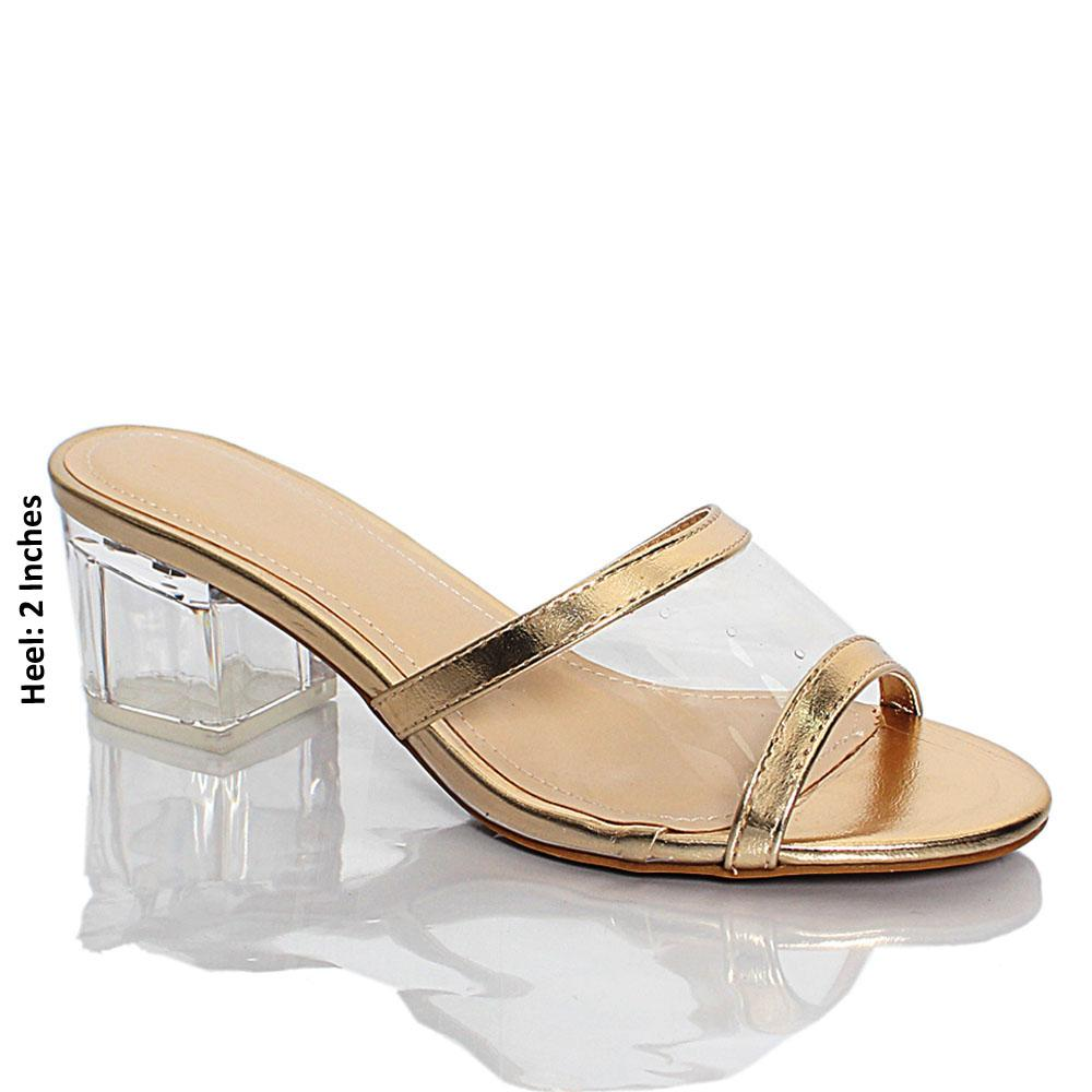 Gold Transparent Rubber Leather Block Heel Mule