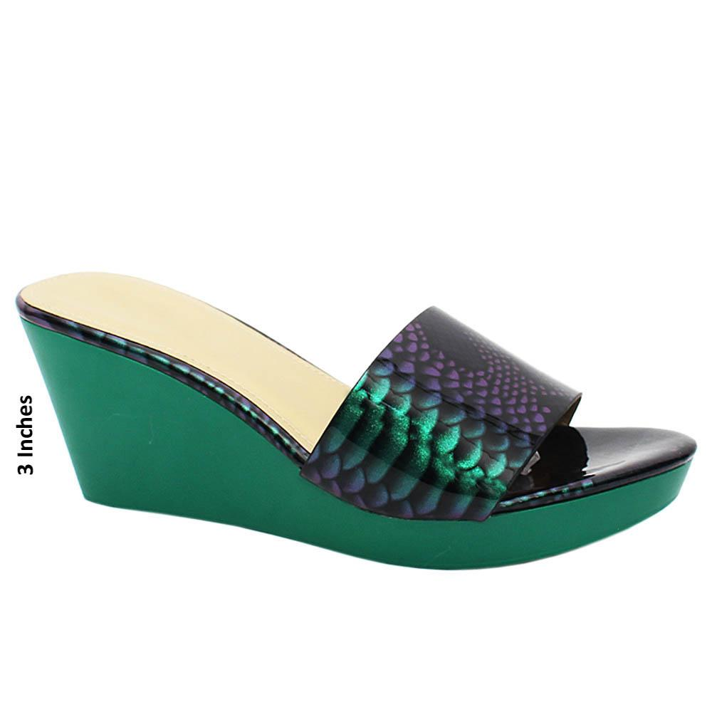 Green Solange Snake Print Patent Leather Wedge Heels