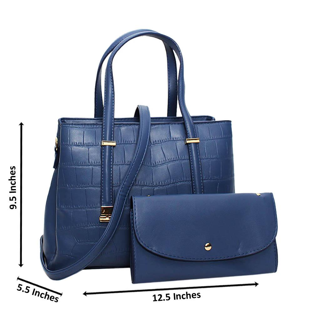 Blue Larissa Leather Medium Tote Handbag