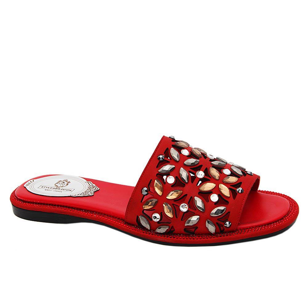 Red Izabella Studded Italian Leather Women Flat Slippers