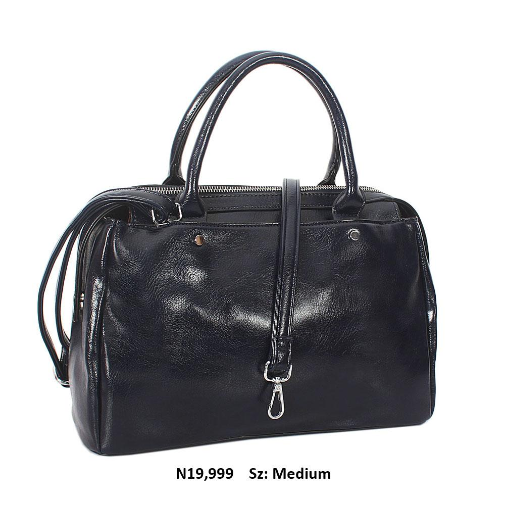 Navy Bertha Leather Tote Handbag
