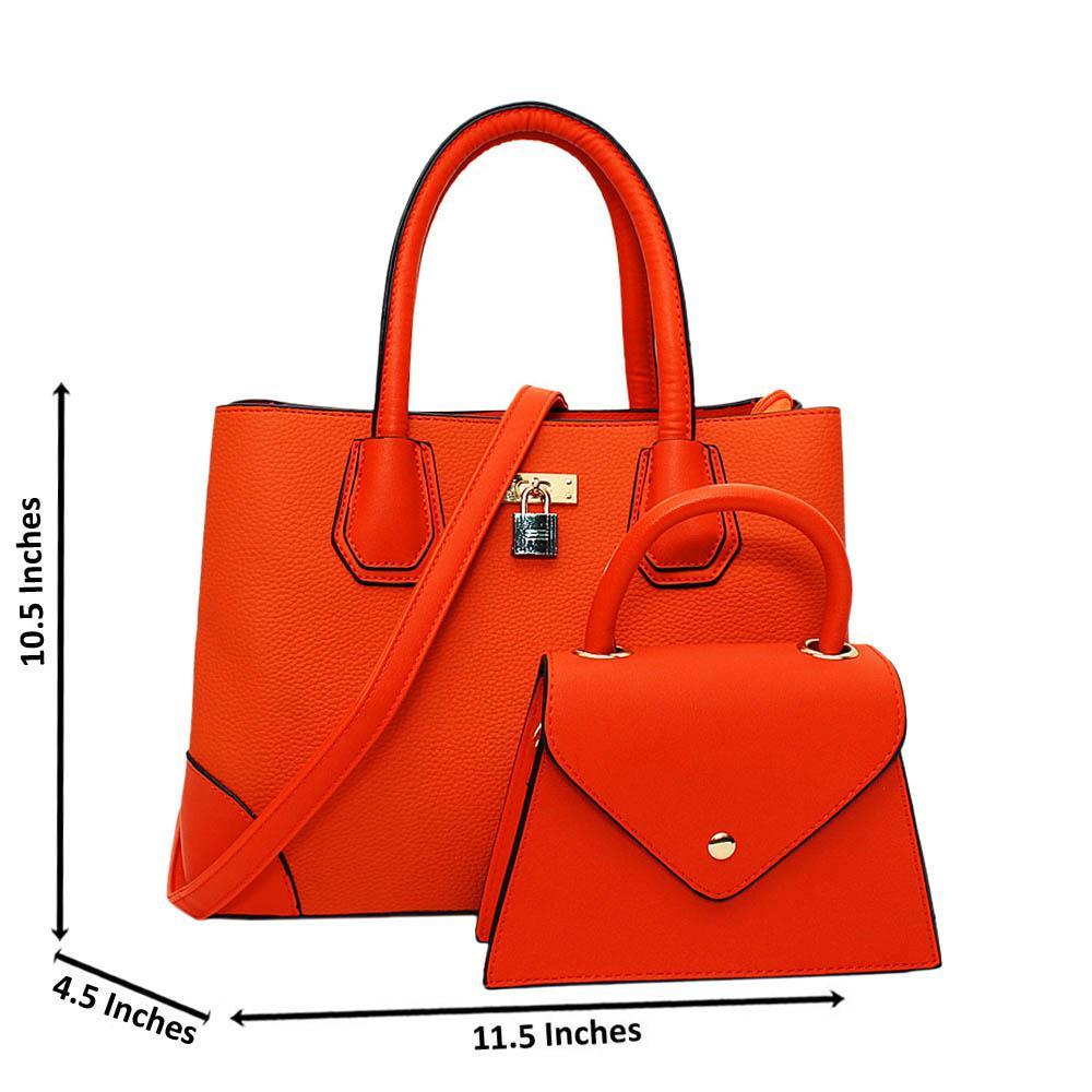 Orange Natalie Leather Medium 2 in 1 Tote Handbag