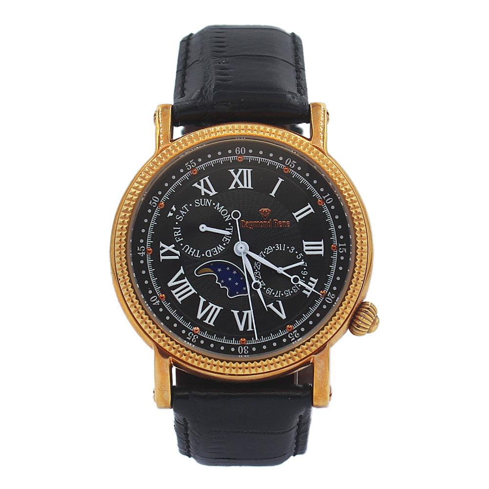 DR 3ATM Black Galaxy Leather Flat Watch