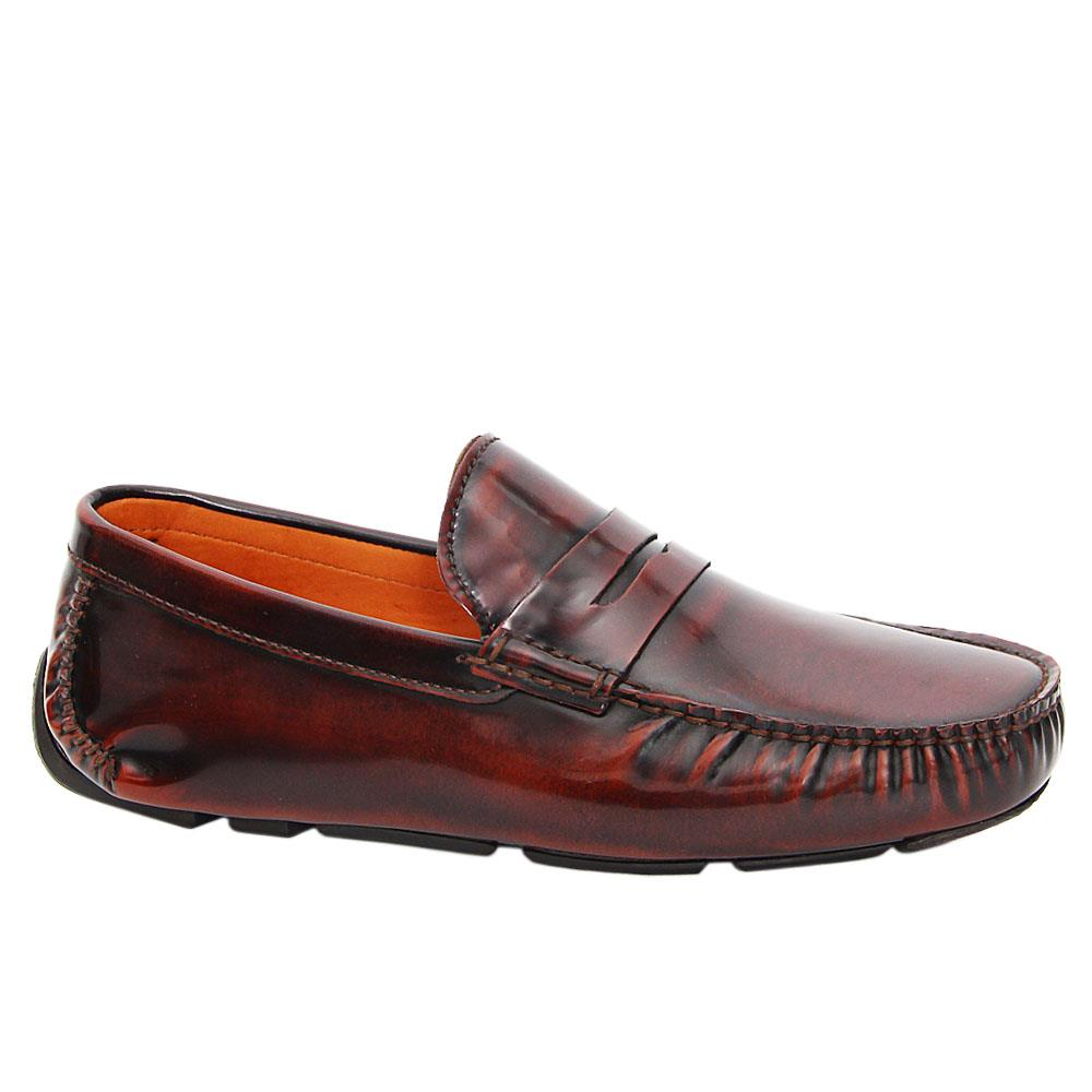 Coffee Gavino Patent Italian Leather Drivers Shoe