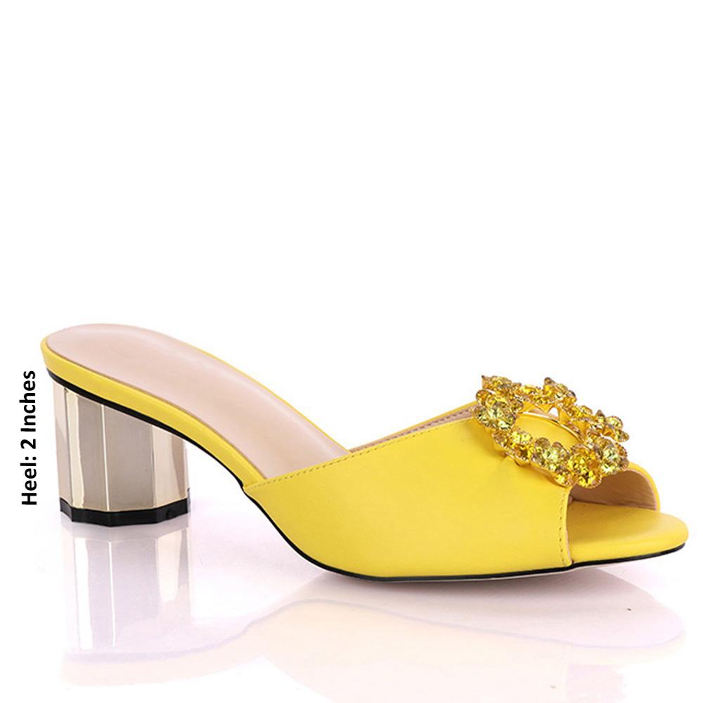 Yellow Parietti Studded Leather Low Heel Mules
