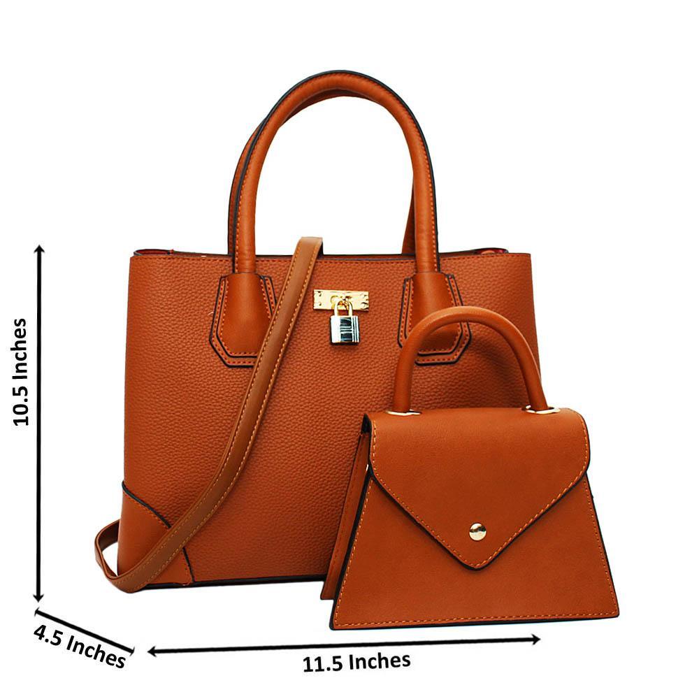 Brown Natalie Leather Medium 2 in 1 Tote Handbag