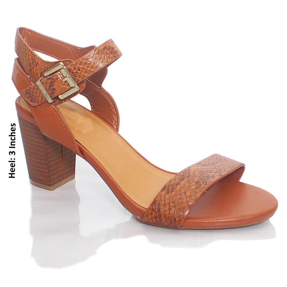 Brown KC Jane Snake Skin Leather Heel