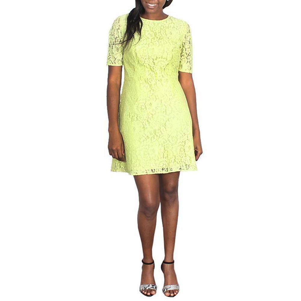 Marks  &  Spencer Lemon Green Short Sleeve Ladies Dress-Uk10