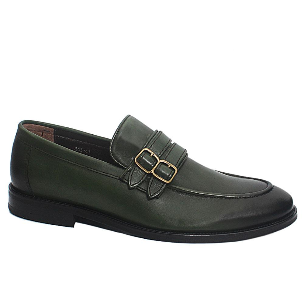 Green Jared Leather Penny Loafers
