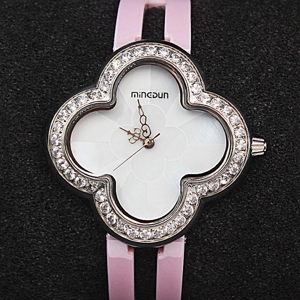 Empire Pink Flower wt Steel Casing Studded Ceramic Ladies Watch