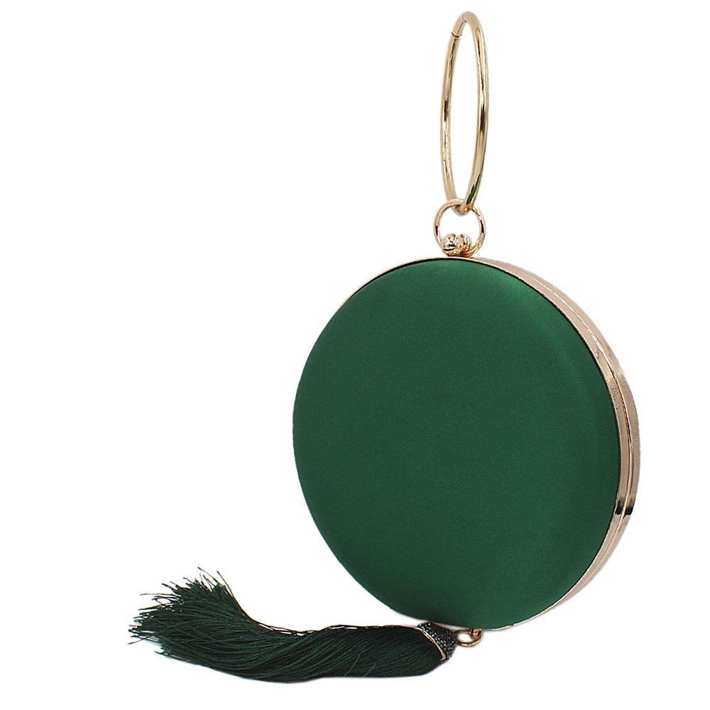 Green Satin Wrist Handle Round Clutch Purse