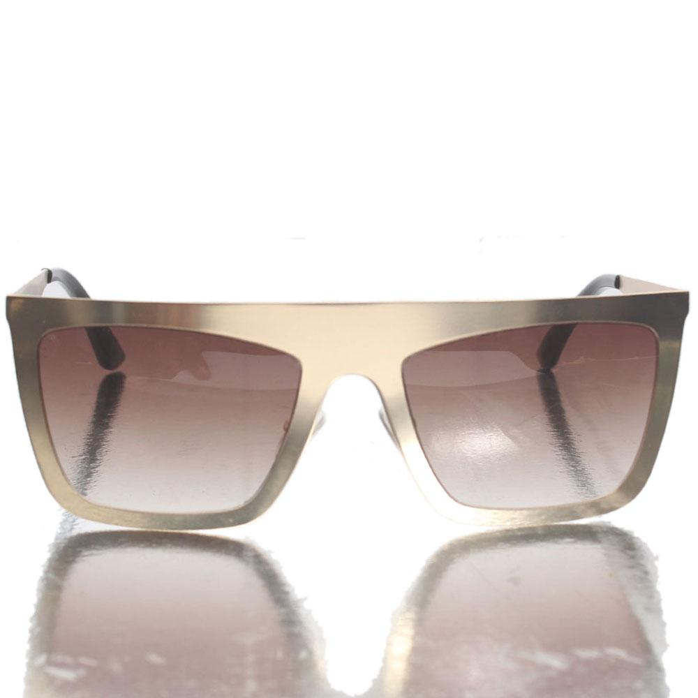 Gold Black Brown Shield Lens Sunglasses