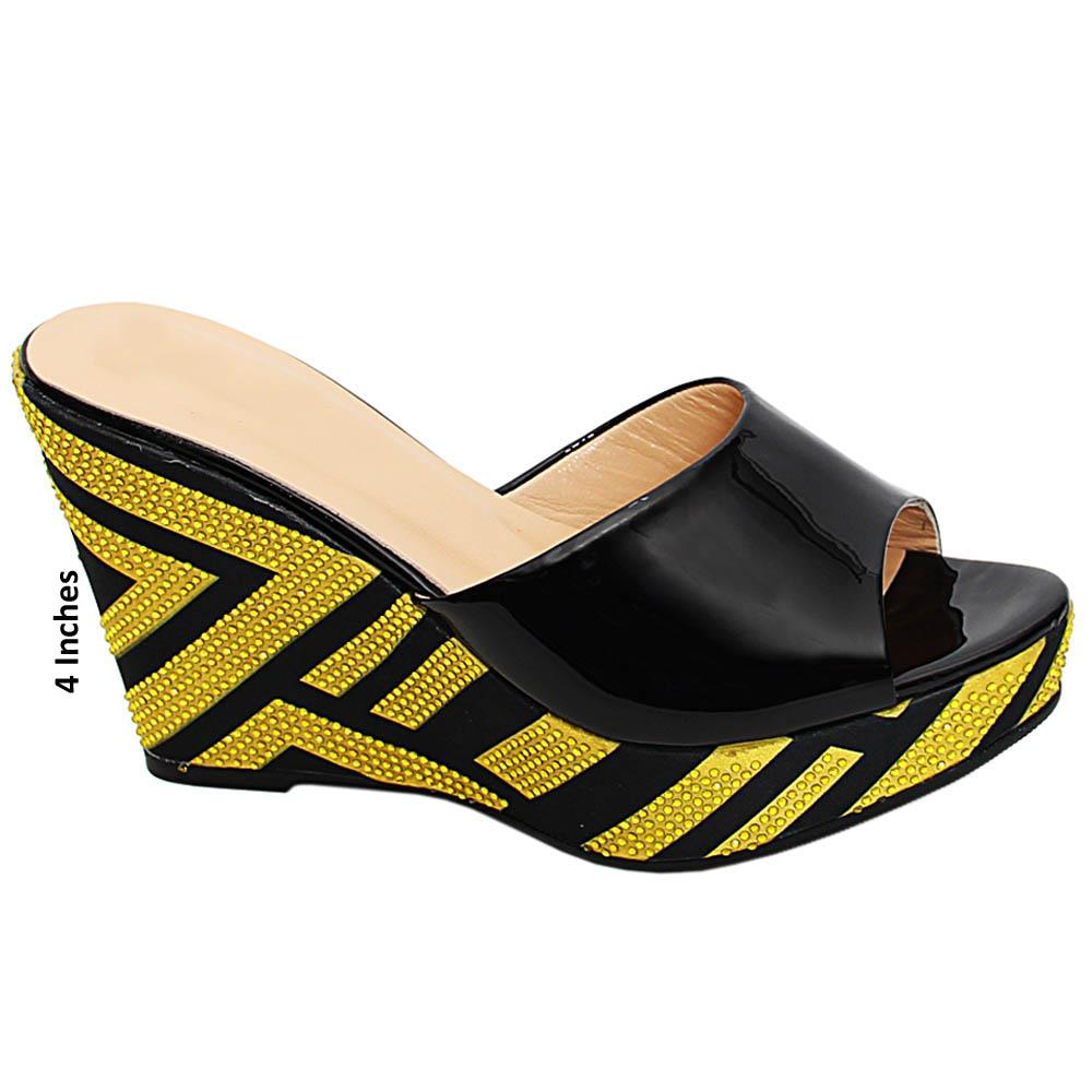 Black Yellow Daniela Studded Patent Italian Leather Wedge Heels