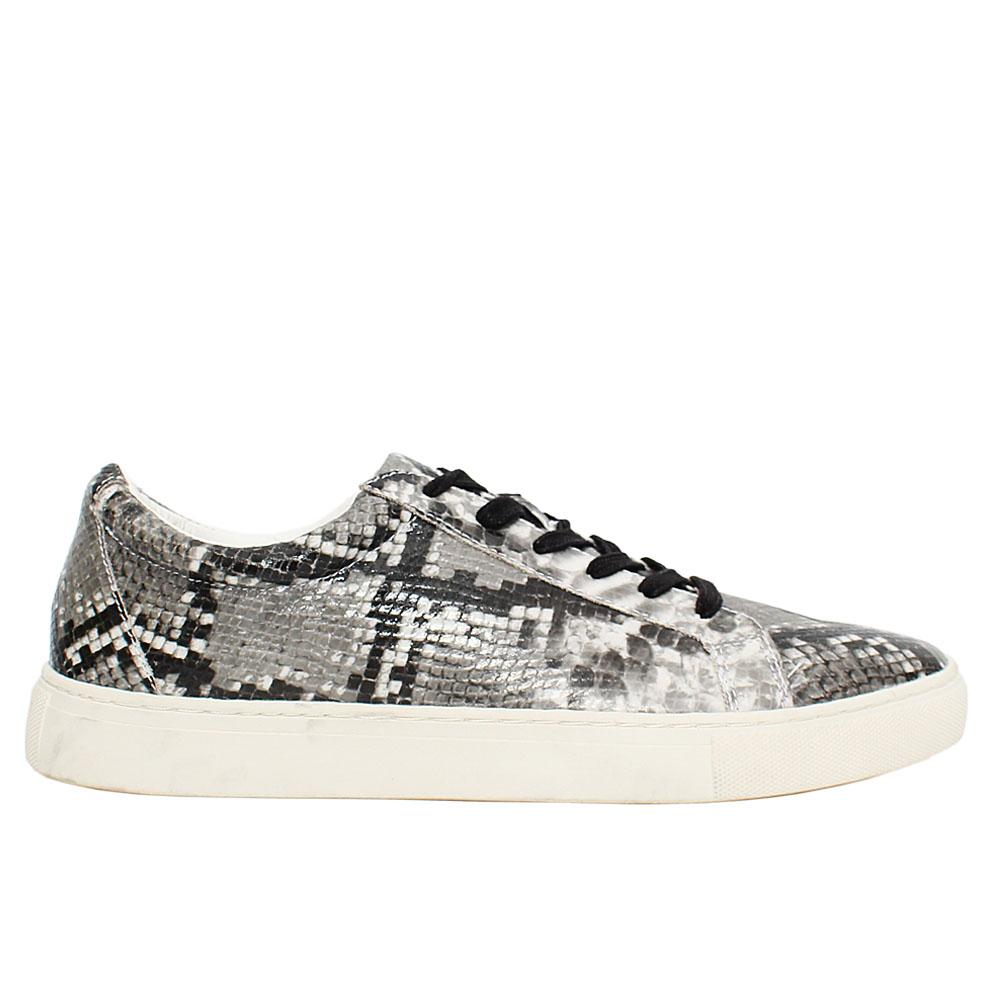 Black White Whitworh Snake Skin Leather Sneakers