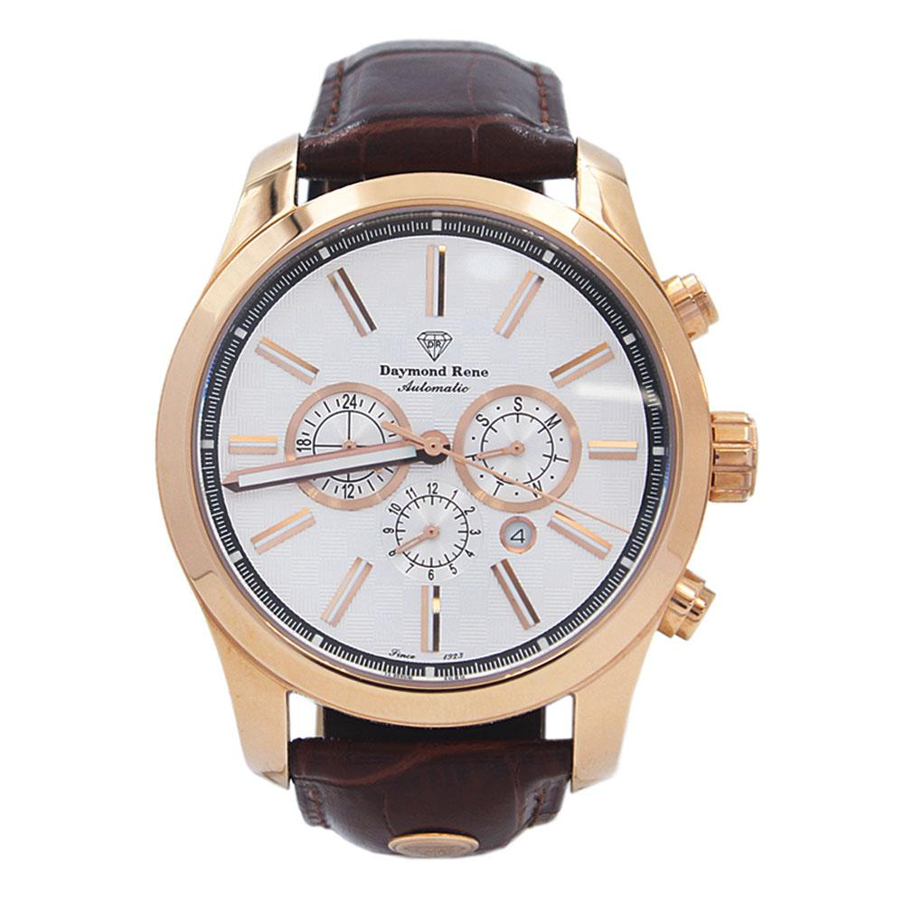 Brown Rose Gold Leather Automatic Watch