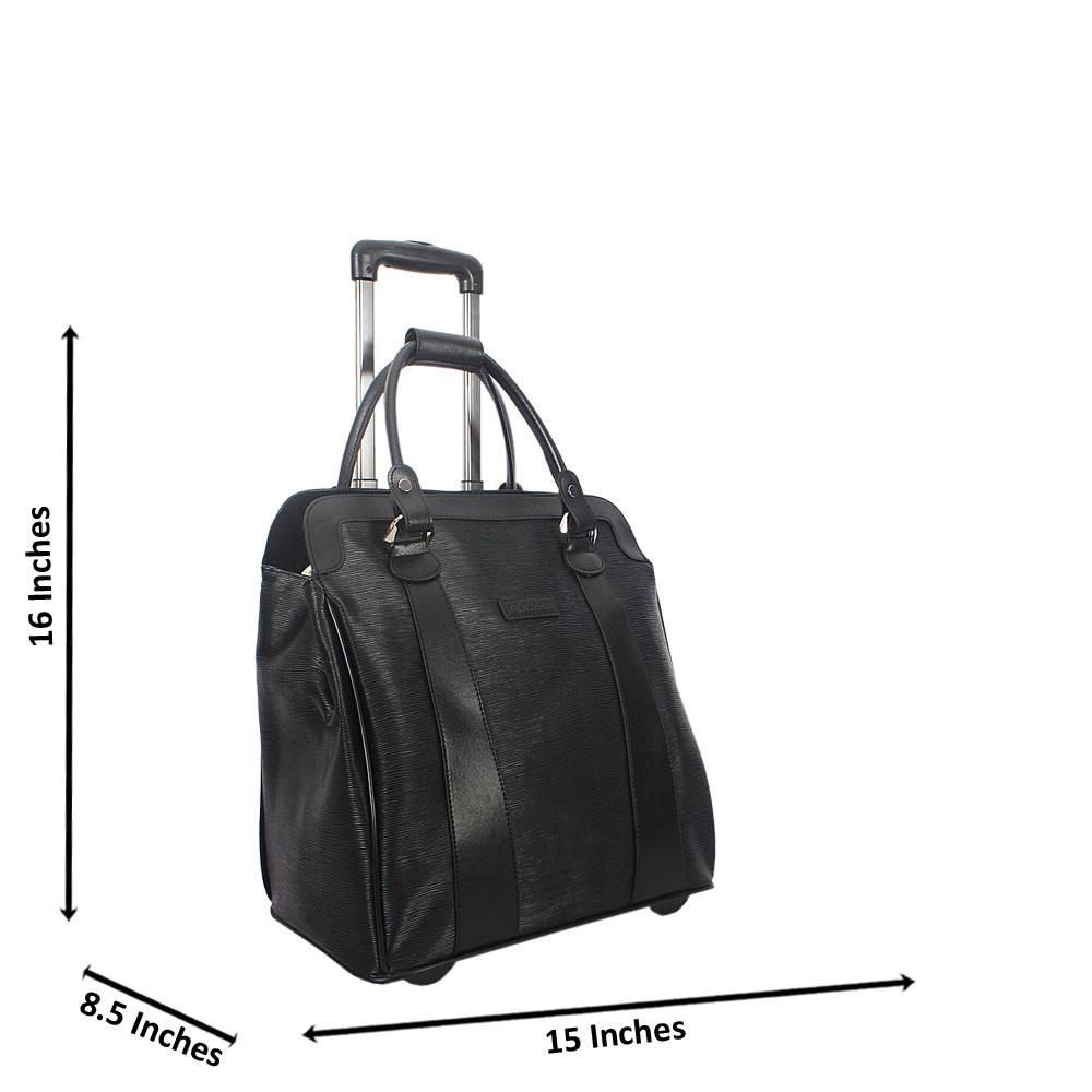 Black 16 Inch Leather Carry On Hand Luggage