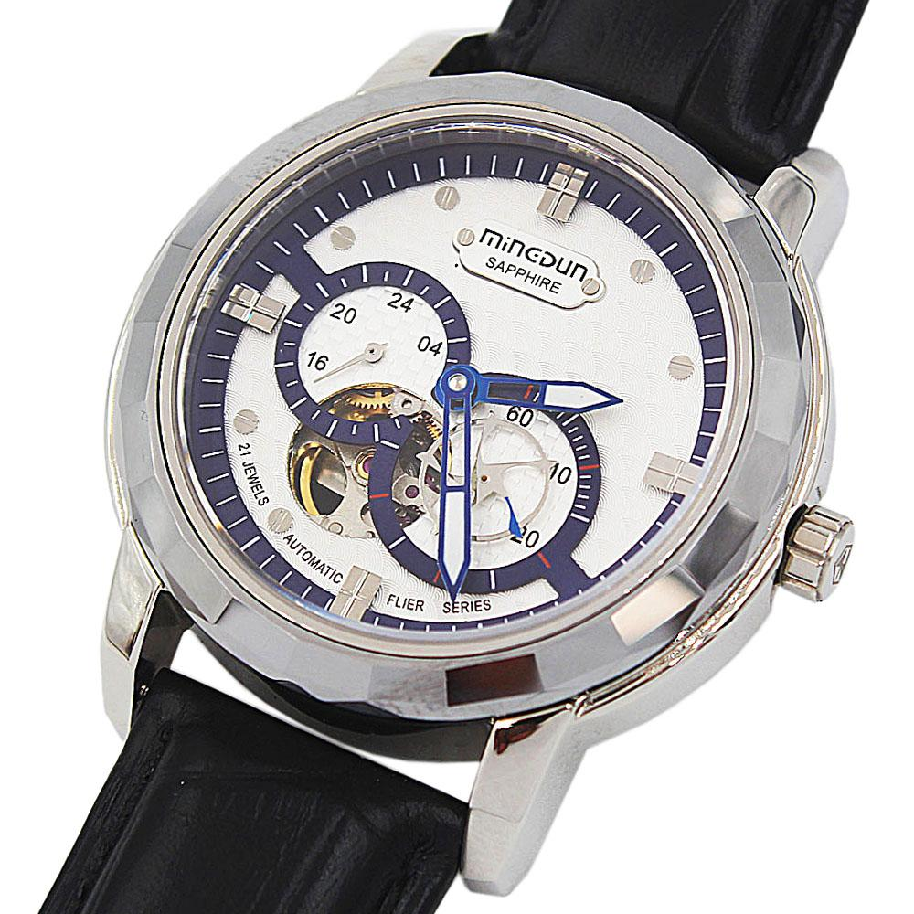 Shanghai Marcello Sapphire Class Black Leather Automatic Watch