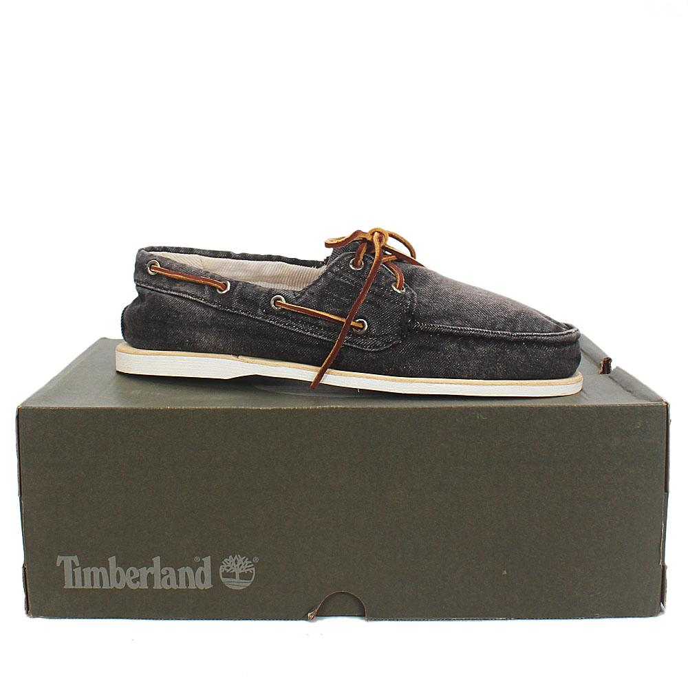 Sz 44 Timberland Black Denim Mens Loafers