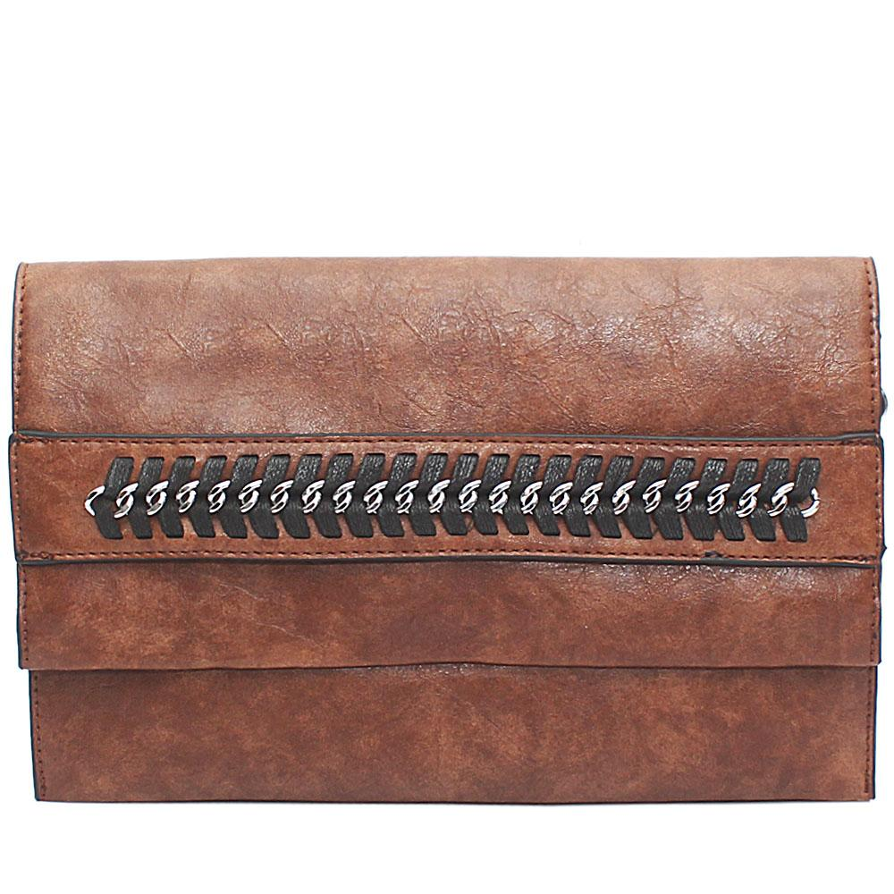 Brown Chain Design Leather Flat Purse