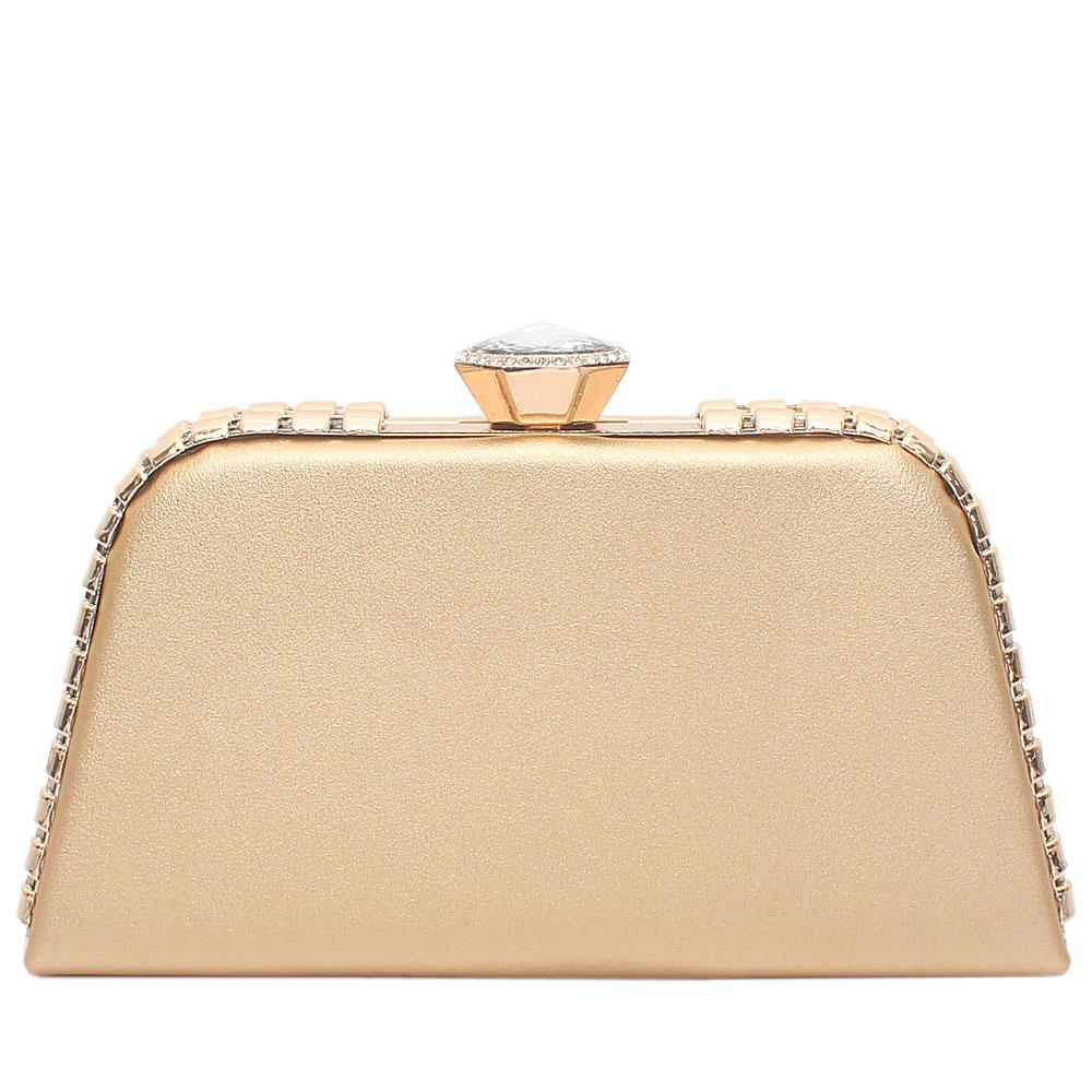 Gold Leather Premium Hard Clutch