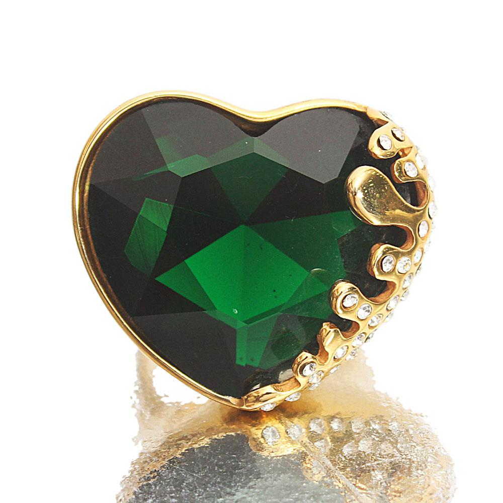 Gold Steel Green Heart Ladies Ring Sz S