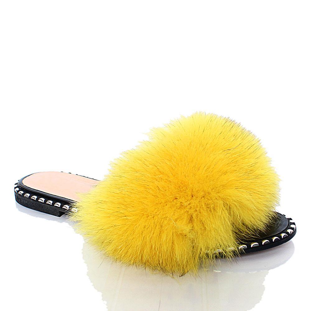 Yellow Delfina Furry Italian Leather Flat Slippers
