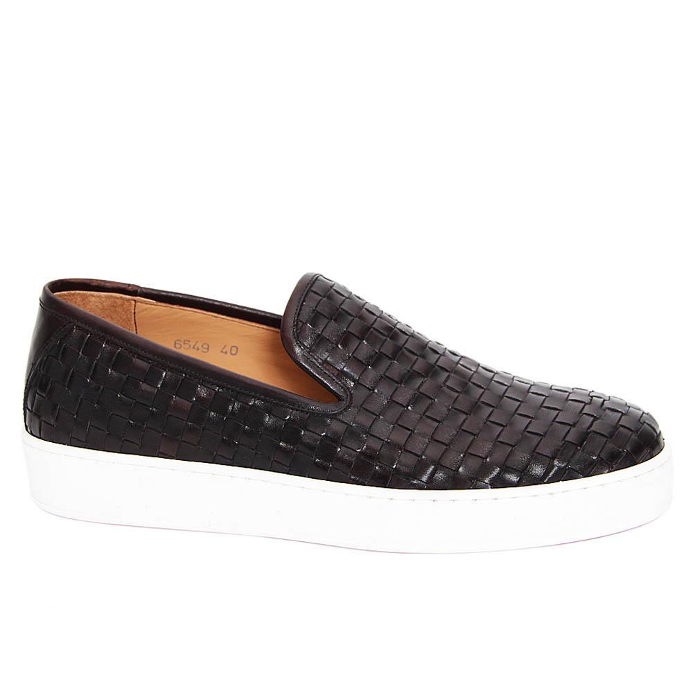 Dark Coffee Christianino Woven Italian Leather Slip-On Sneakers