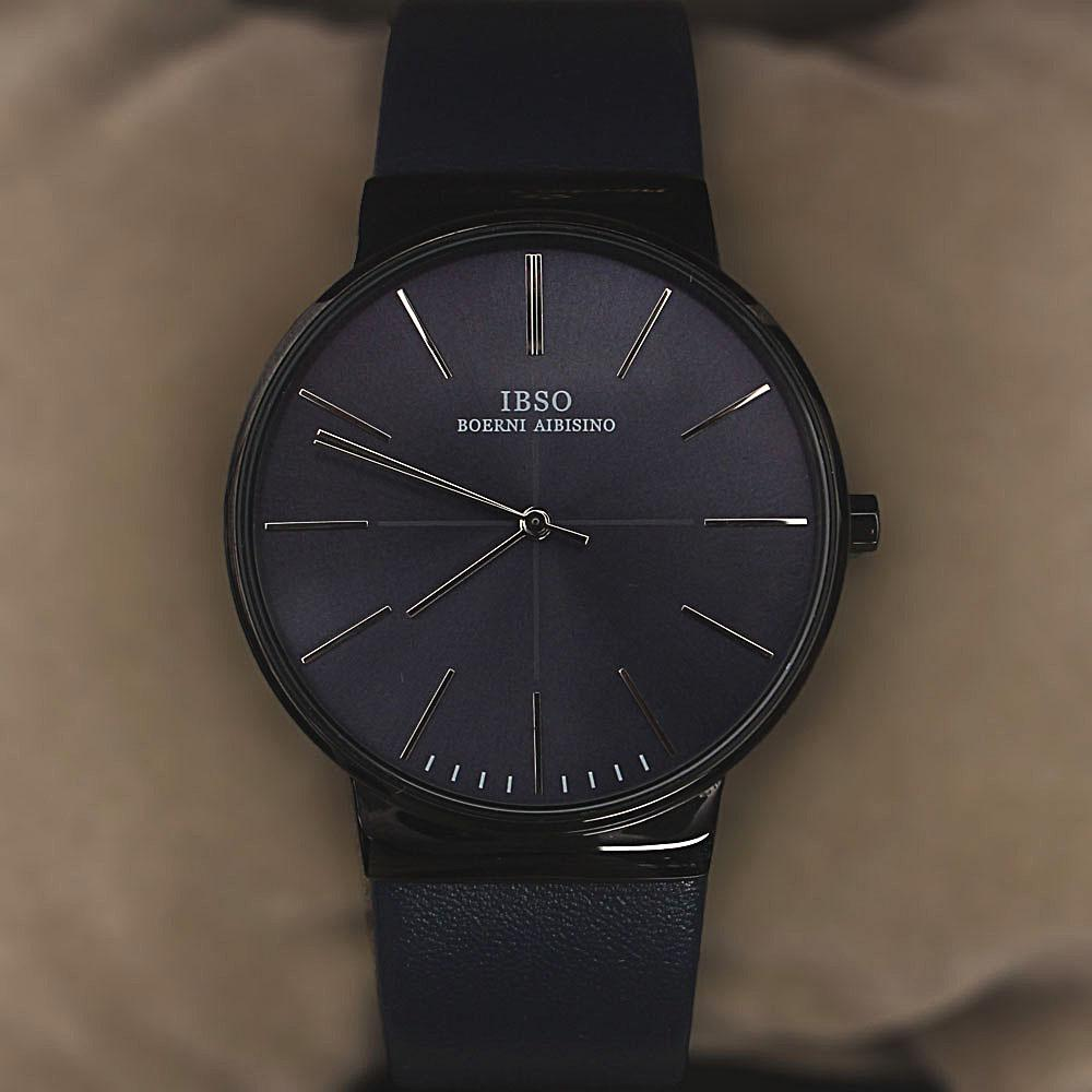 Oxford Navy Leather Flat Watch