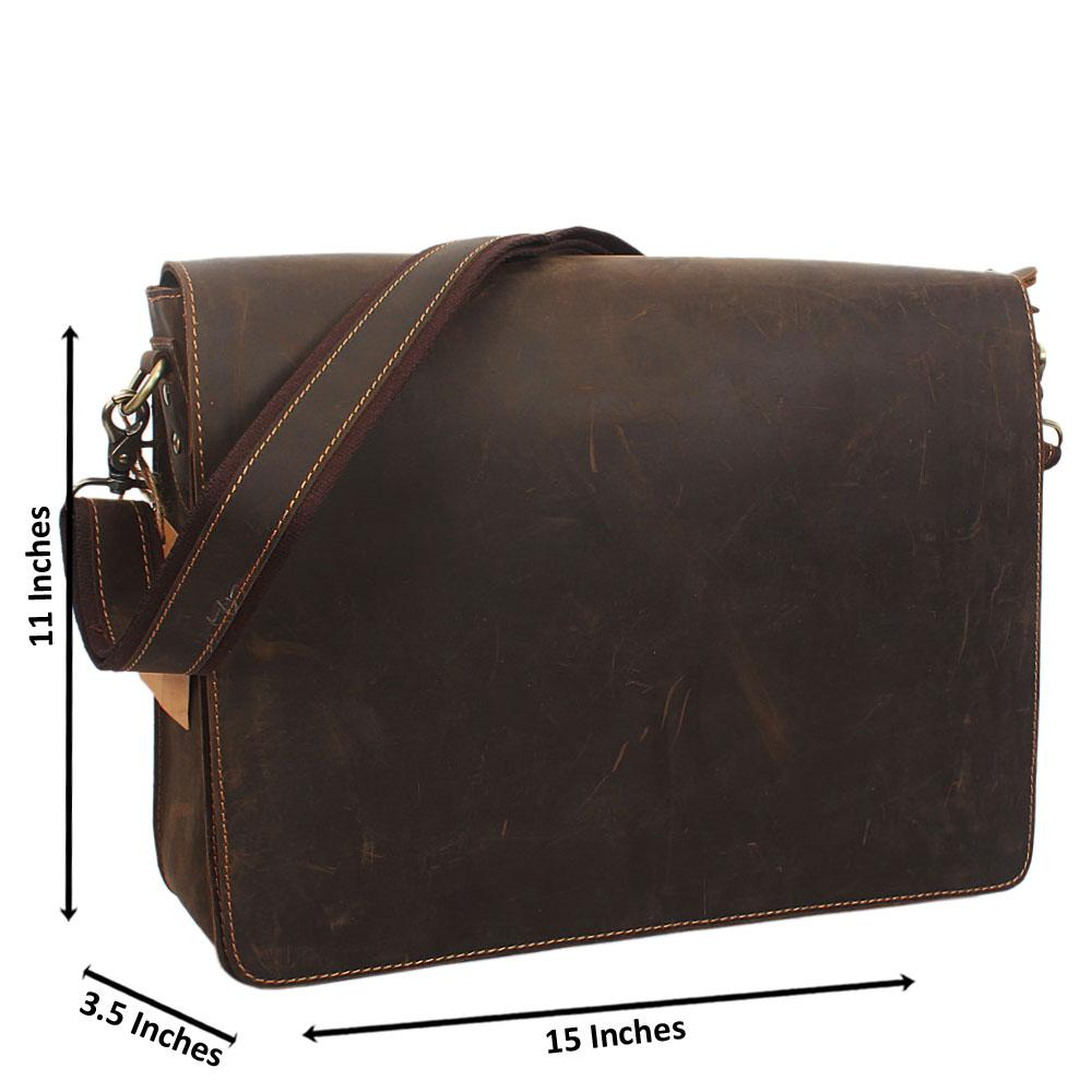 Coffee Distressed Leather Messenger Bag
