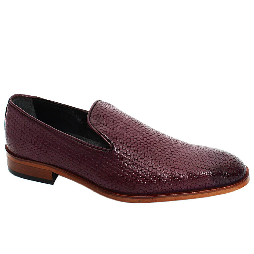 Purple Lucas Woven Styled Leather Men Penny Loafers