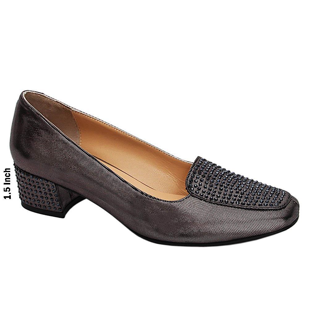 Metallic Gray Thora Studded Glitz Italian Leather Mid Heel Pumps