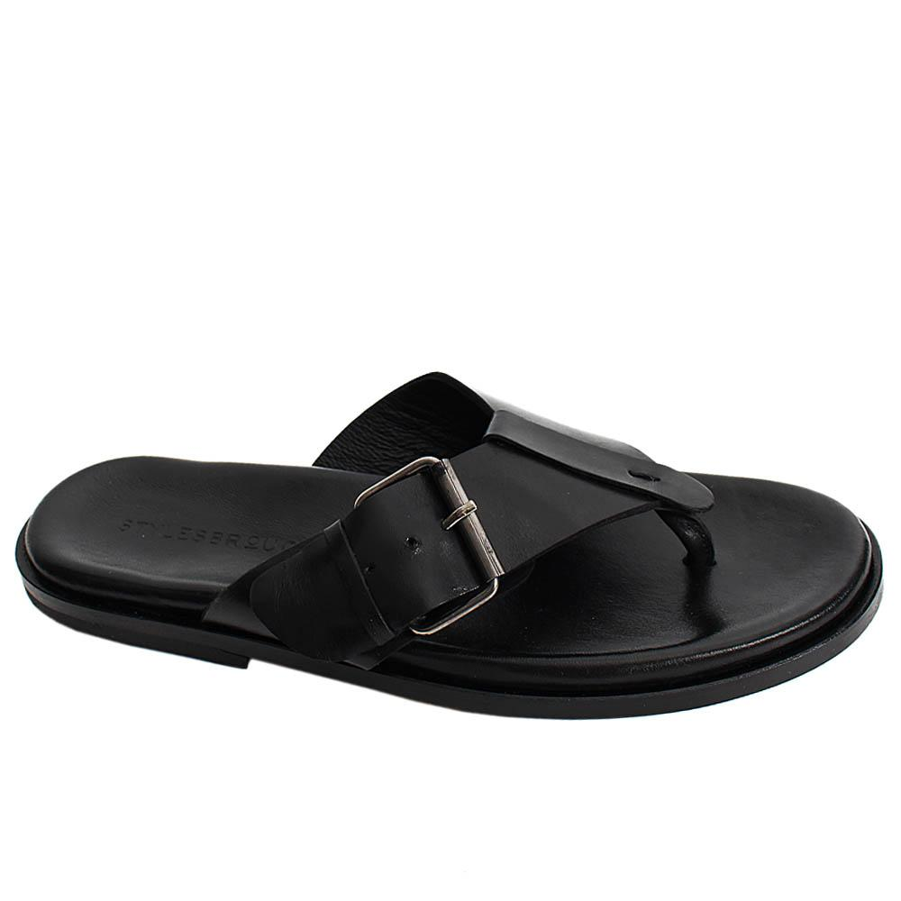 Black Lorenzo Italian Leather Men Slippers