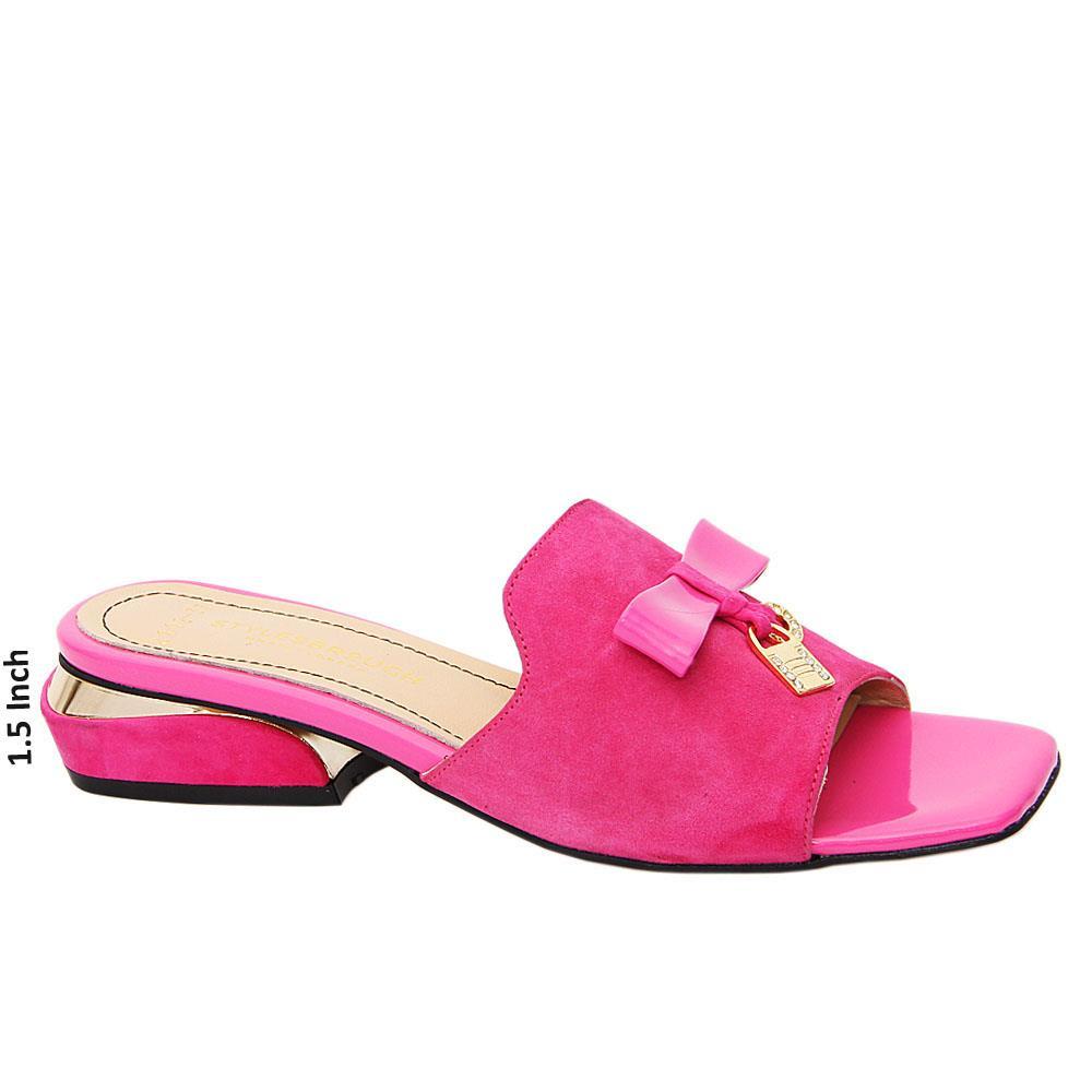 Pink Paula Suede Tuscany Leather Low Heel Mule