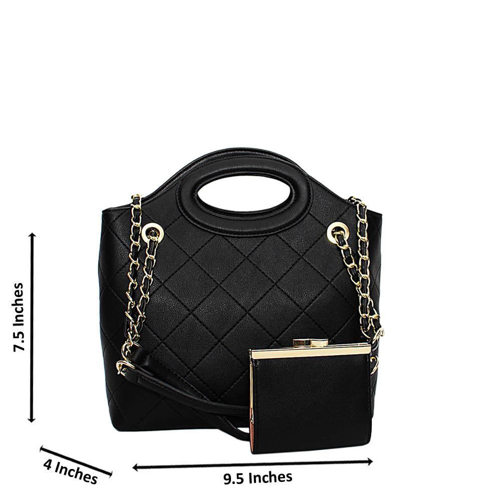 Black Ashley Leather Small Tote Handbag