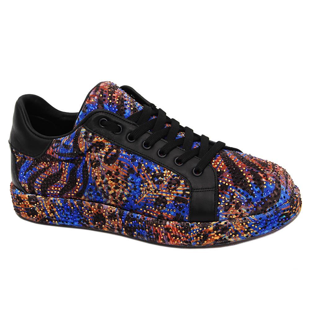 Blue Arden Studded Velour Italian Leather Unisex Sneakers