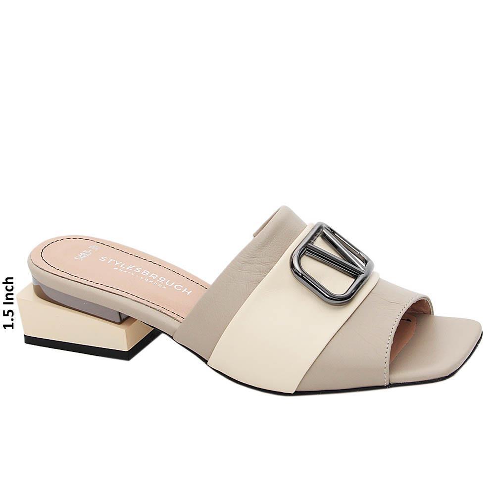 Beige Marta Tuscany Italian Leather Mid Heel Mule