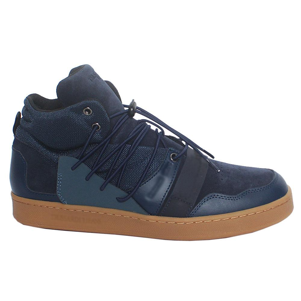 Blue Mix Fabric Suede Leather High Top Sneakers